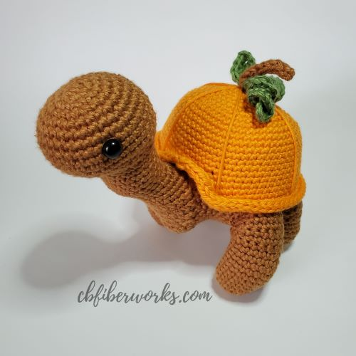 sammie the turtle with pumpkin shell for how to put a spooky spin on your amigurumi
